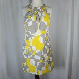 Trina Turk 100% Cotton Dress Sz 6 Yellow/Gray